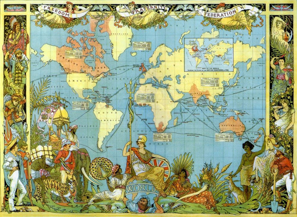 Liberty puzzles classic wooden jigsaw puzzle map of the british vintage style map of the world 1886 victorian british empire poster print gumiabroncs Choice Image