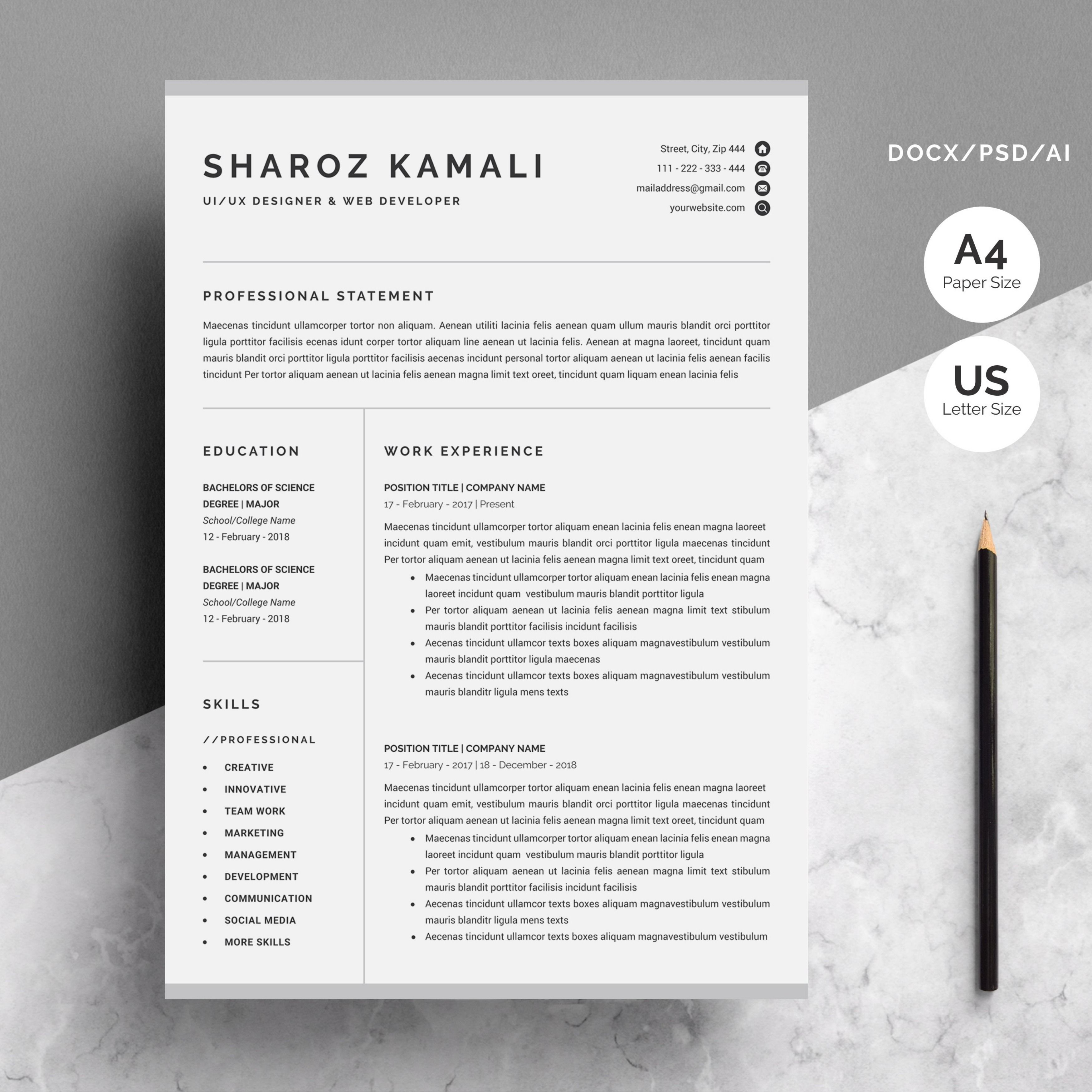 Resume/CV Template 4 Pages Pack Infographic resume