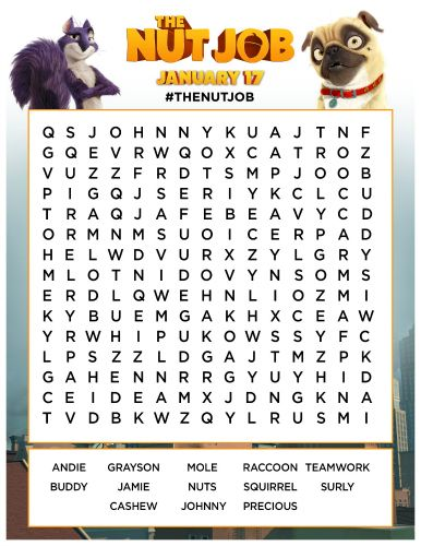 the nut job printable word search