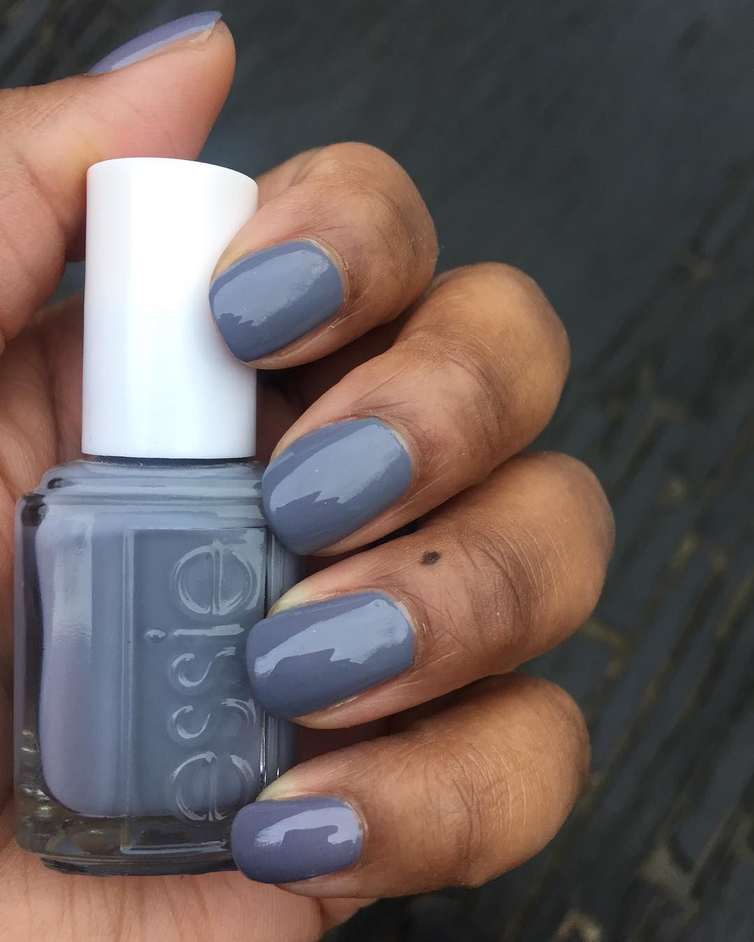 "Blue Grey Nail Polish Essie: Essie ""Petal Pushers"" On Dark Skin. Grey Nail Polish On"