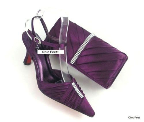 Chic Feet Womens Purple Wedding Prom Evening Shoes Matching Bag