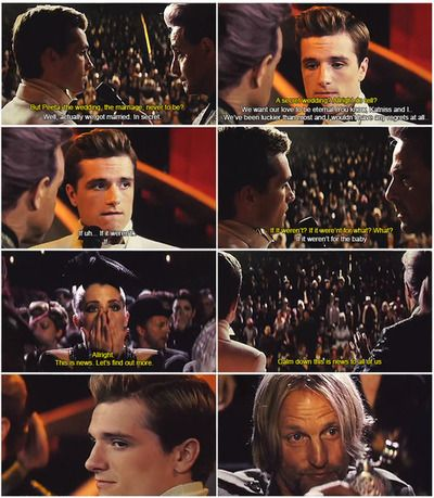 Peeta looks at hamitch like ya i know im a bad butt  i love it peeta was so sassy in catching fire this is why catching fire was my favorite