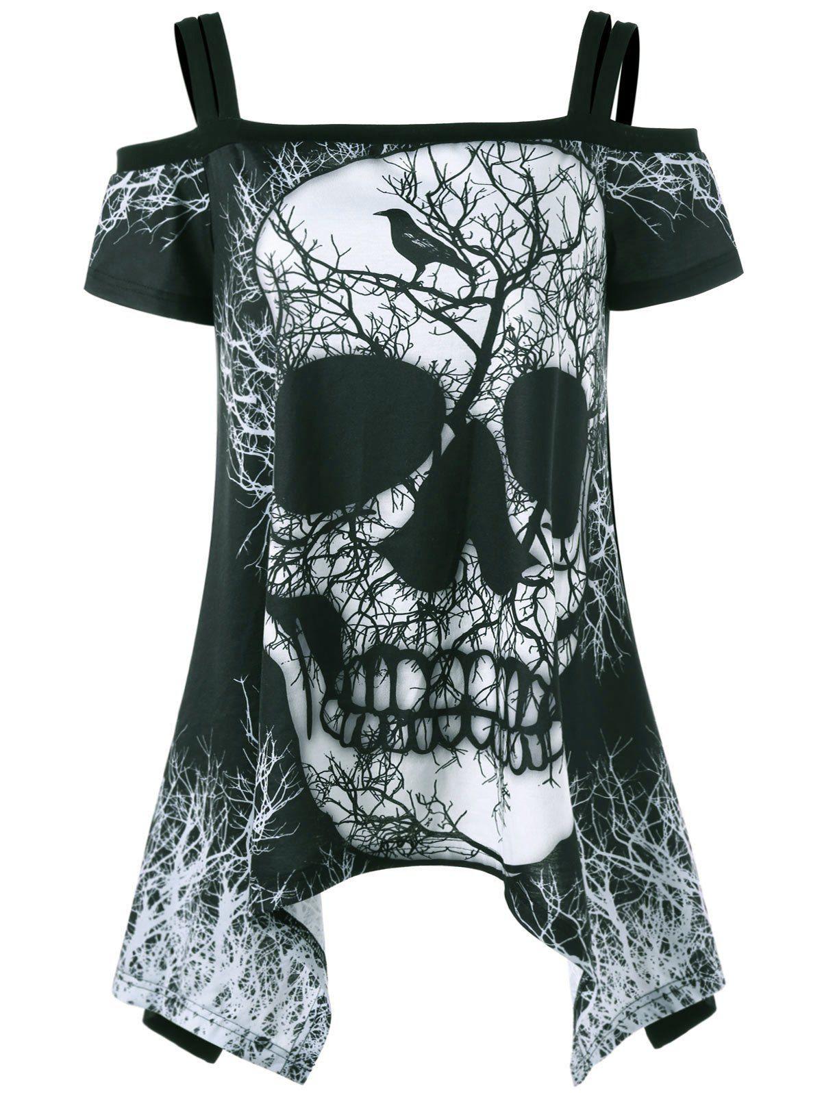 9a3edc19e1 Open Shoulder Skull Handkerchief T-shirt