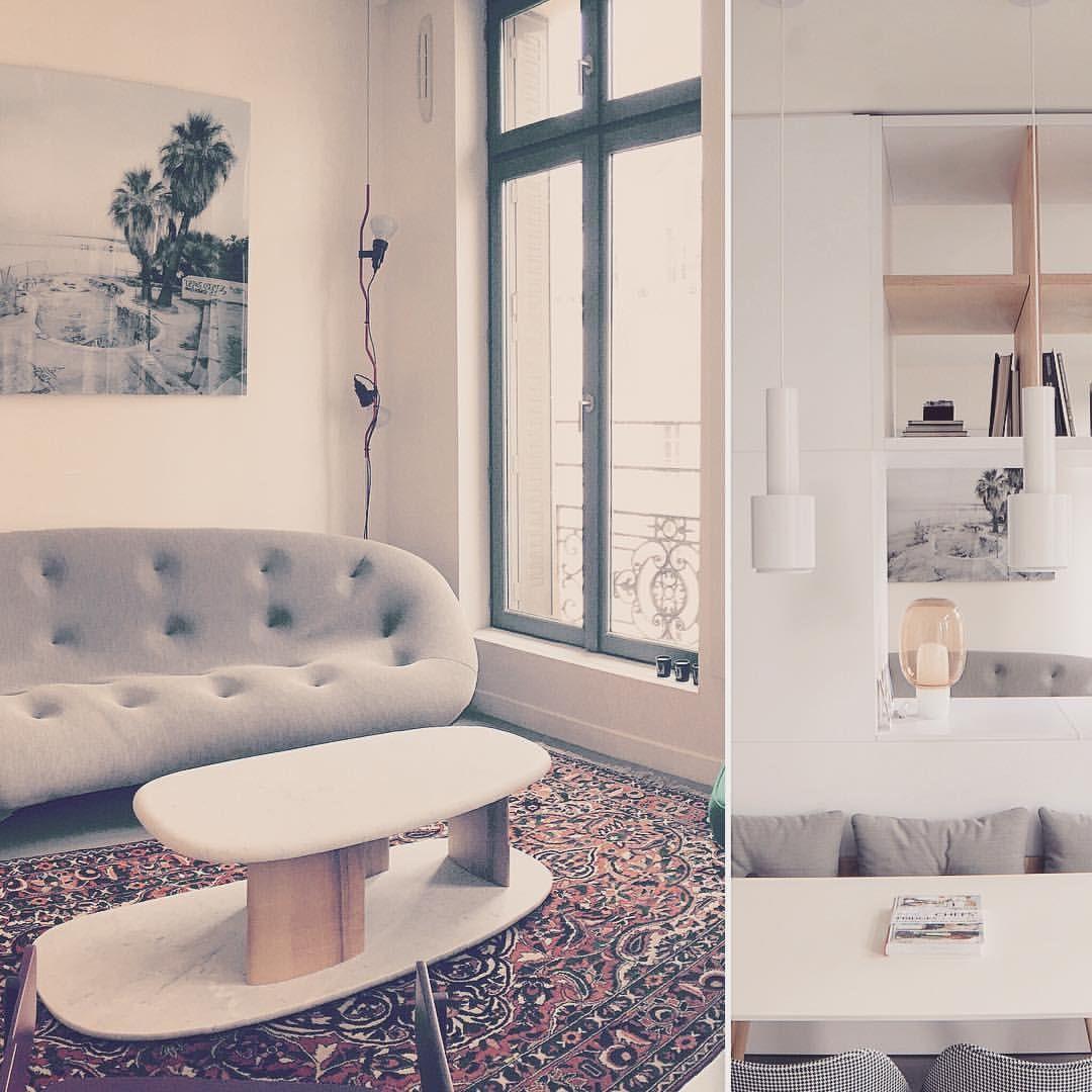 Petit test de #layout @studiojoranbriand et ploum from @ligneroset_fr qui côtoient les suspension A110 from @artekglobal et la yoko from @foscarinilamps. Coussins dot from @haydesign #parisdesign #interior #decoration