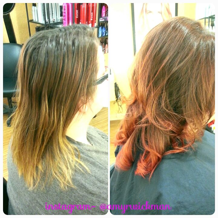 Before and after Chocolate brown to orange ombre! Gorgeous! Amy at Regis Salon in Grand Forks ND did it!