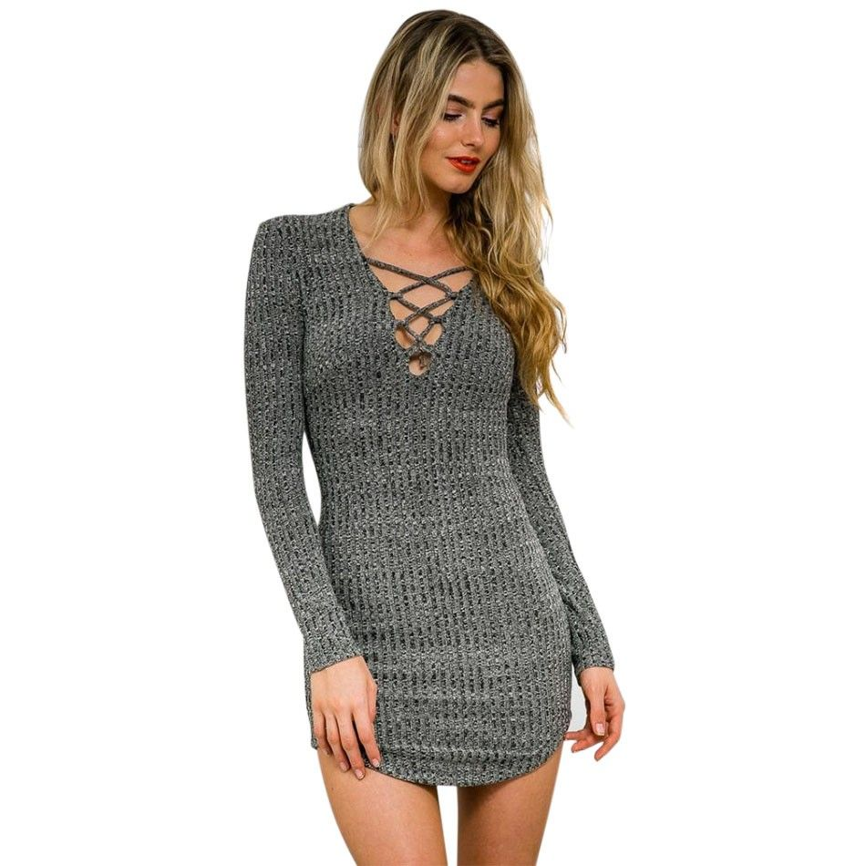 Women Knitting Dress V Neck Long Sleeve Sweater Dress Lace up ...