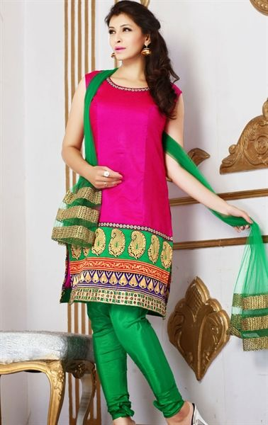 Picture of Flamboyant Fuchsia Color Indian Churidar Kameez