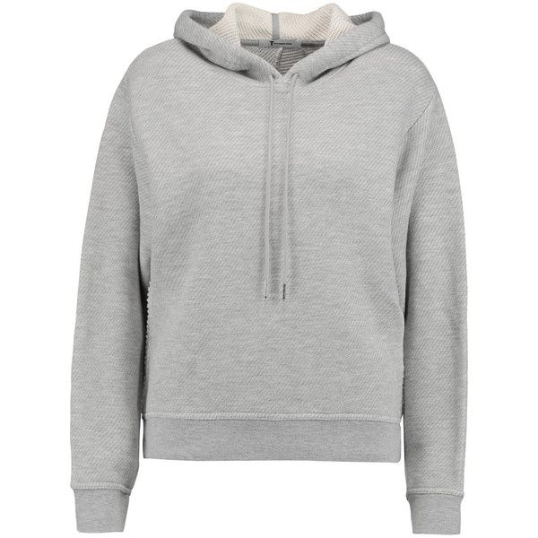 T by Alexander Wang Cotton-blend French terry hooded sweatshirt (1.235 NOK) ❤ liked on Polyvore featuring tops, hoodies, grey, loose fit tops, loose fitting tops, loose tops, t by alexander wang and side slit top