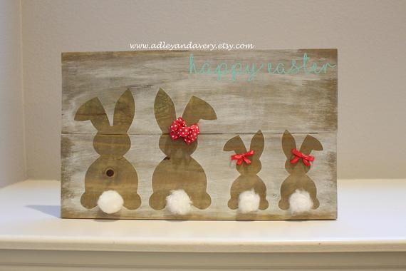 Photo of Osterhase Zeichen, Holz Hase Familie Zeichen, Ostern Familie Zeichen, Woden Hasen, Ostern Dekor, Frühling Dekor, Bunny Familie, happy Easter Zeichen
