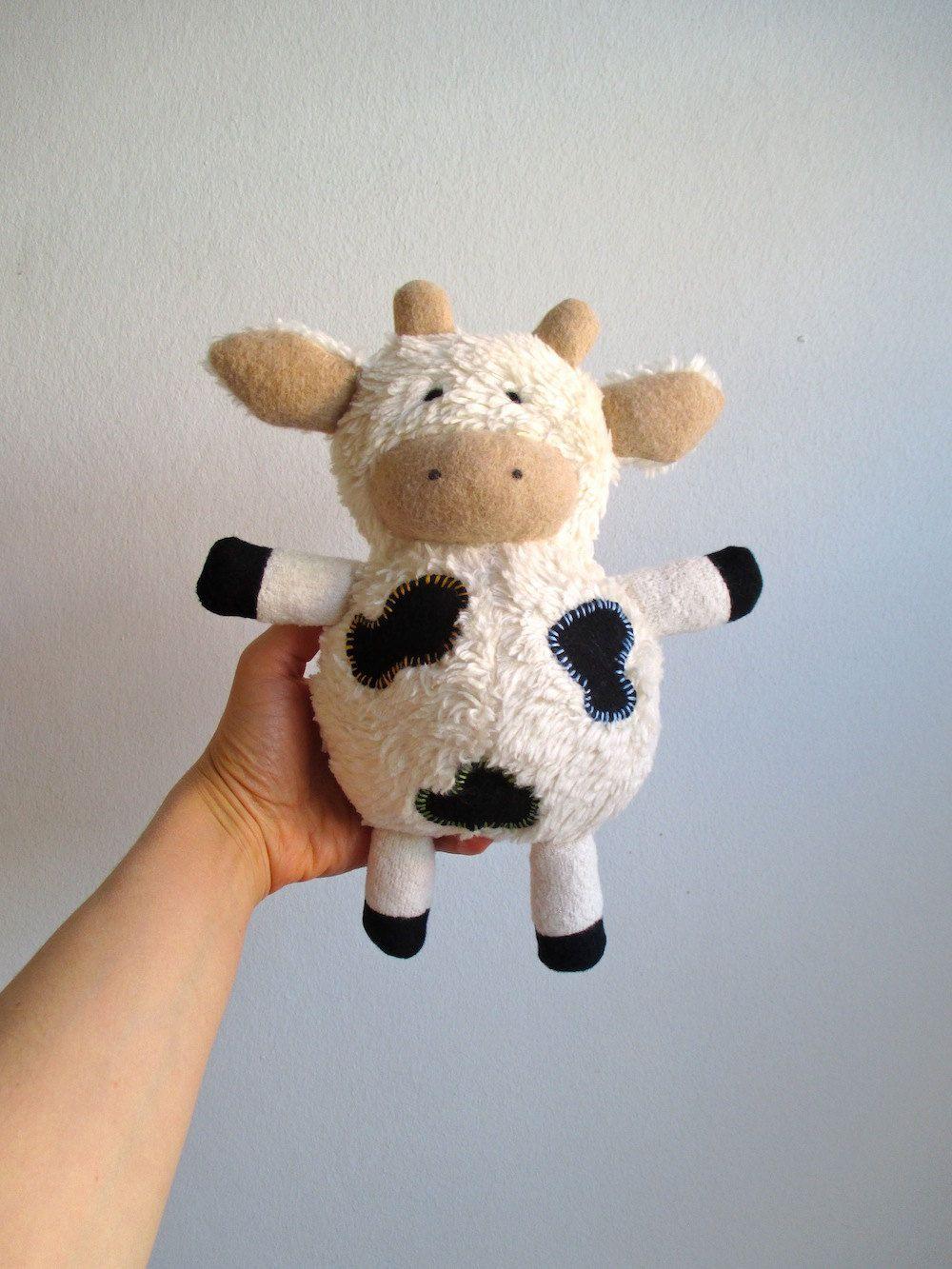 Organic cow toy, plush, stuffed animal, cuddly, soft, eco