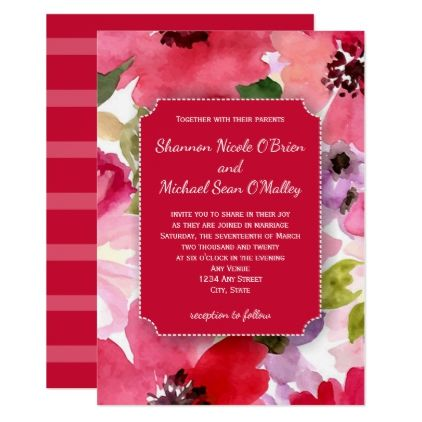 Modern Floral Red Watercolor Wedding Invitation - modern gifts cyo gift ideas personalize