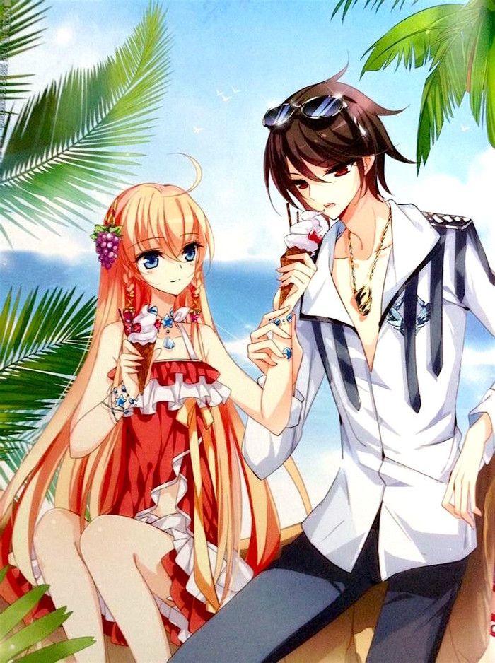 Söta animerade kärlek par