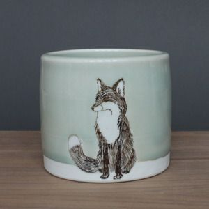 SKT ceramics - small celadon fox tumbler $48 I don't know why I love this, but I do.