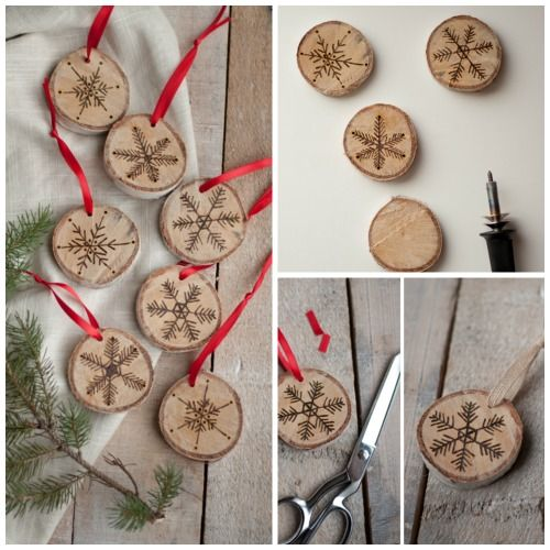 Ideas navide as con rodajas de madera inspi diy - Ideas decorativas navidenas ...