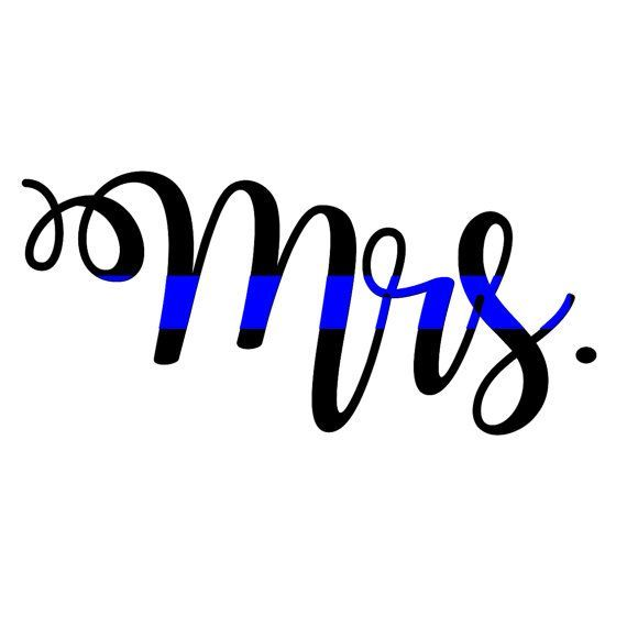 Mrs. Thin Blue Line Decal, police wife decal, fireman wife