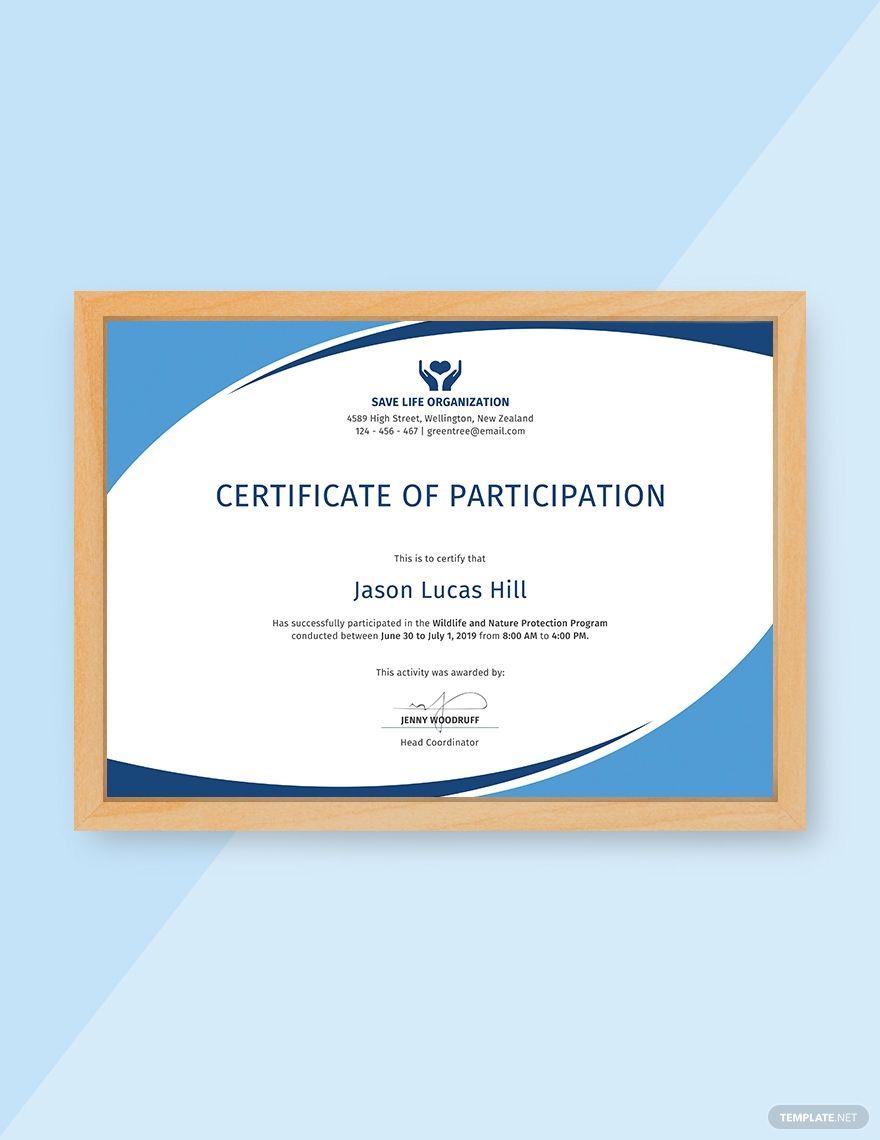 Free Program Participation Certificate Certificate Of