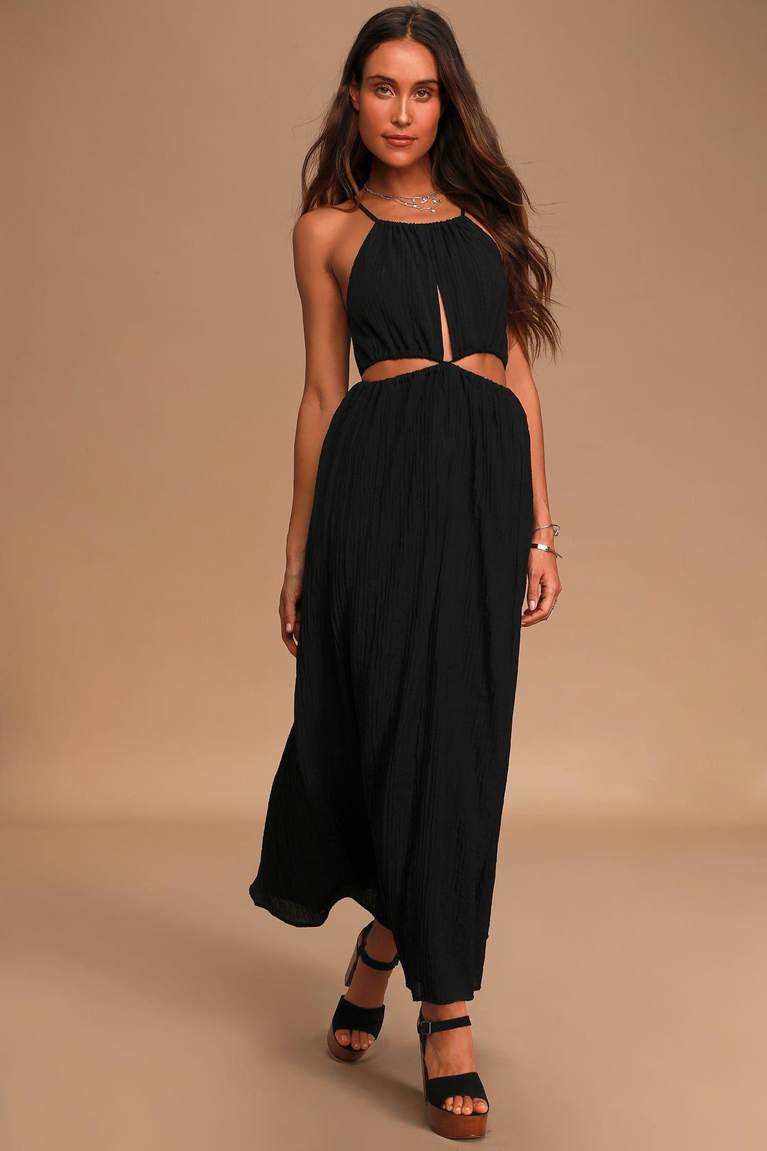 Streamlined Style Black Tie Back Cutout Maxi Dress In 2020 Cutout Maxi Dress Women Dress Online Maxi Dress [ 1680 x 1120 Pixel ]