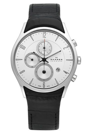 Skagen Chronograph Leather Strap Watch available at Nordstrom