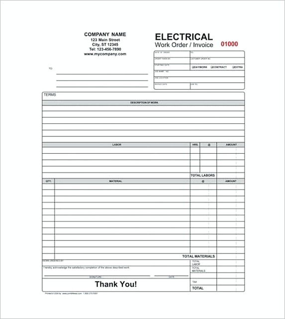 Electrical Contractor Receipt  Free Service Invoice Template