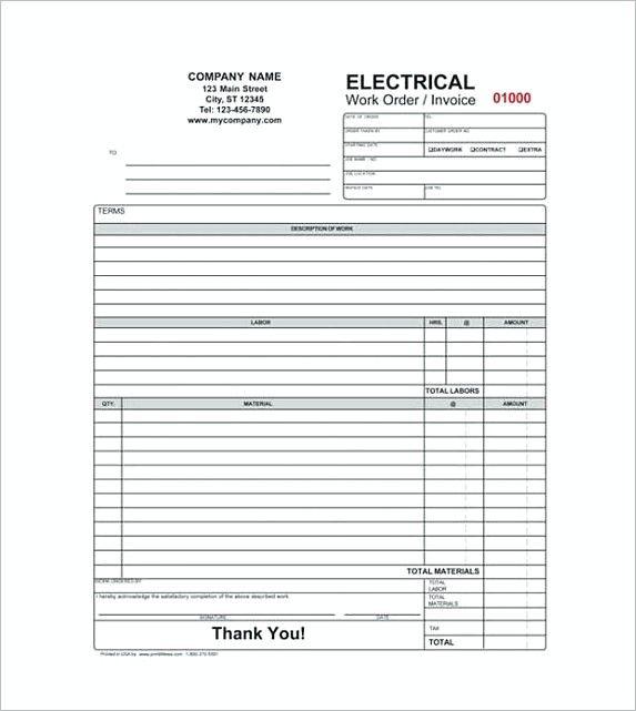 Electrical Contractor Receipt Proforma Invoice Template and – Electrical Invoice Template