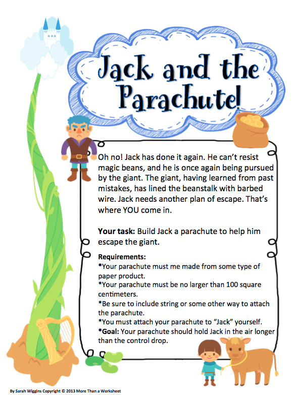 fairy tale stem jack and the parachute creative and critical thinking kindergarten stem. Black Bedroom Furniture Sets. Home Design Ideas