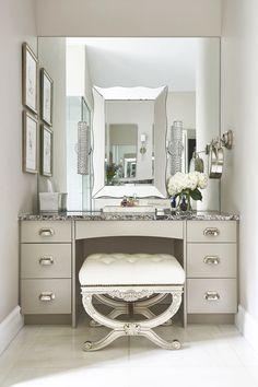 Exceptionnel Makeup Chair Vanity Table Instagram Walk In Closet Girly Feminine White And  Beige Washroom Quartz Granite