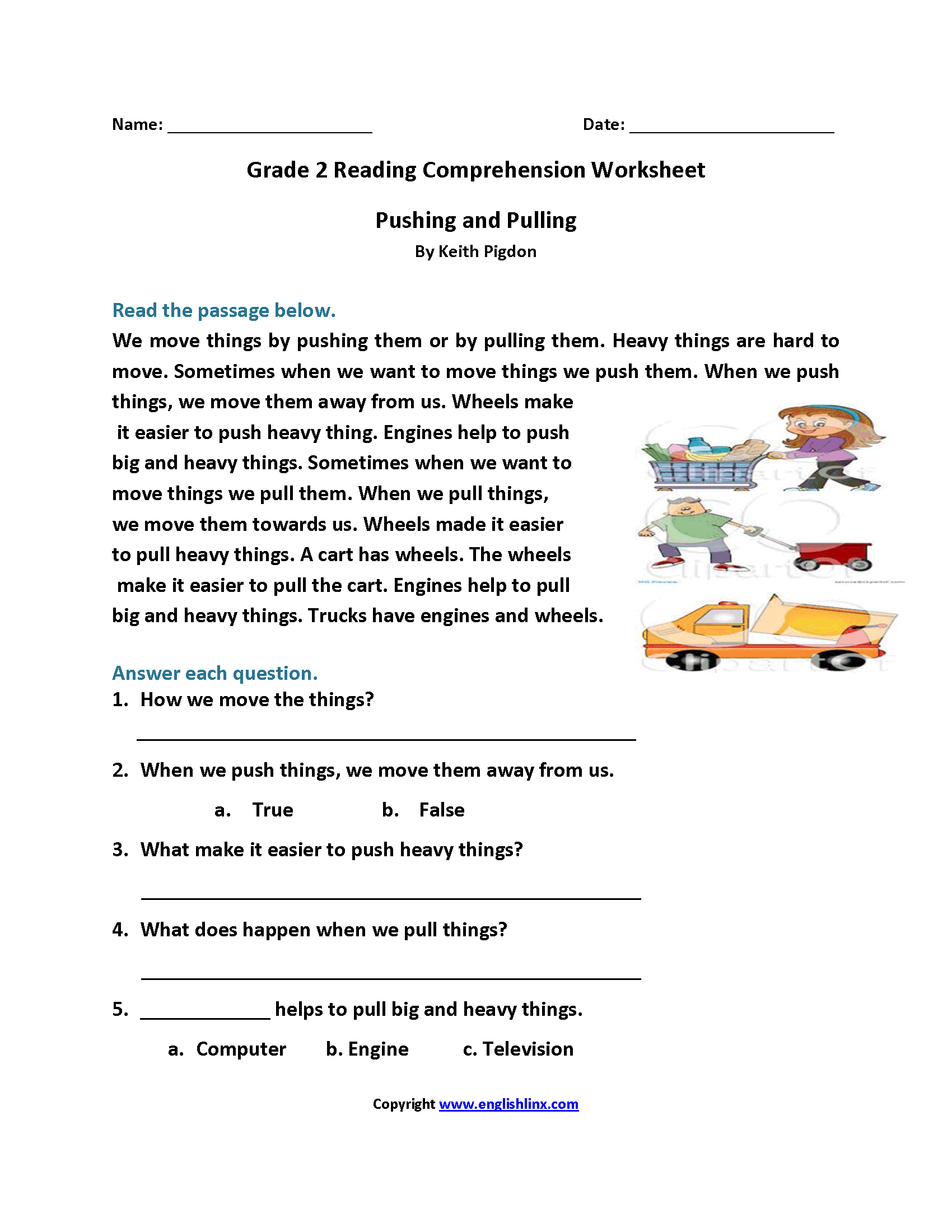 Pushing And Pulling Second Grade Reading Worksheets With