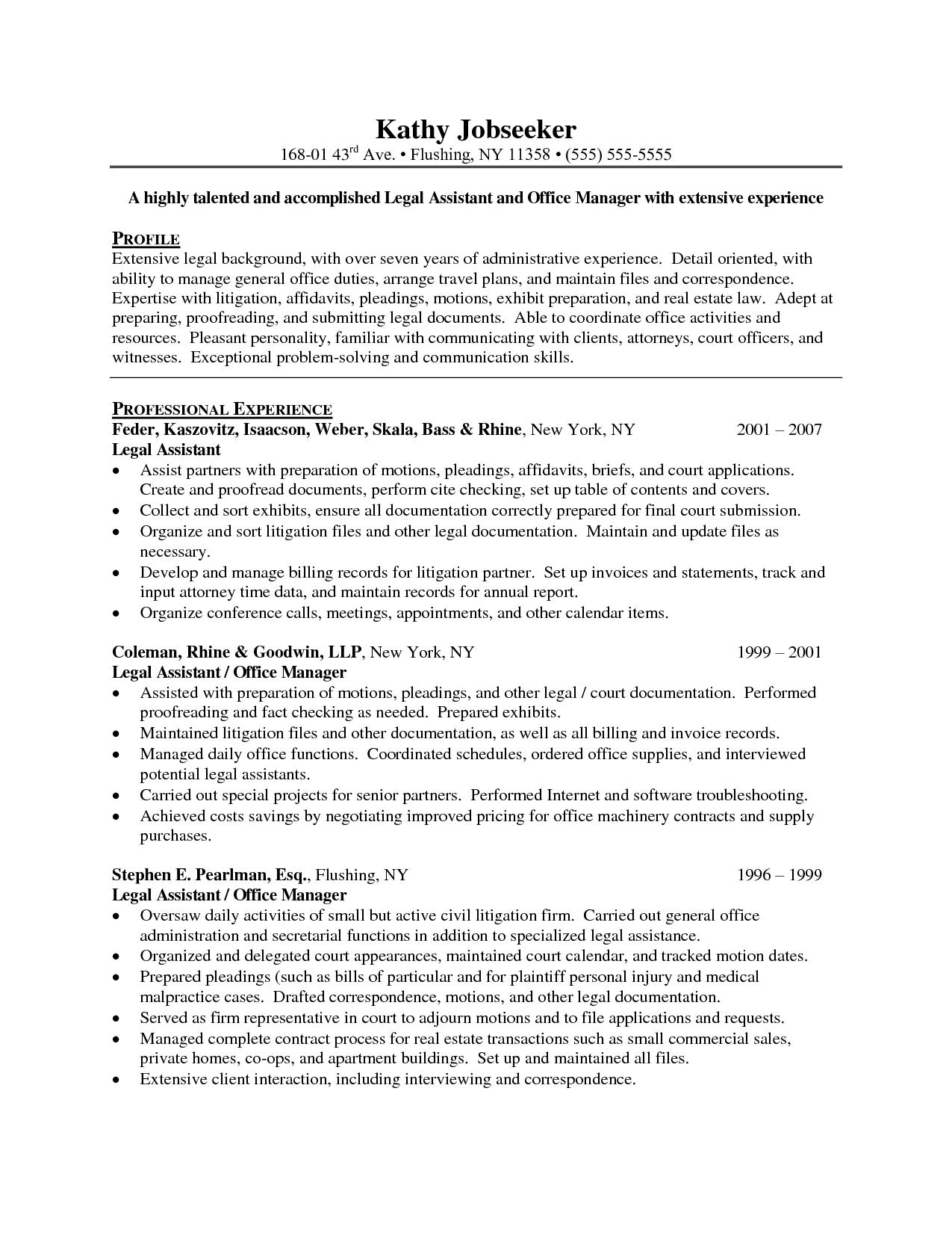 Litigation Paralegal Resume Language Httpresumecareerfo