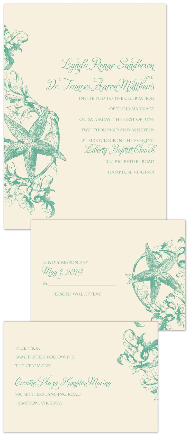Vintage Beach Separate And Send Invitation Wedding Wedding And