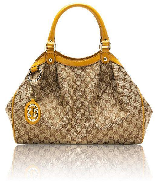 06233d976f91 Amazon.com: Gucci Sukey Original Gg Canvas Medium Tote [Biege/ebony w/  Yellow Trim](211944 ): Clothing