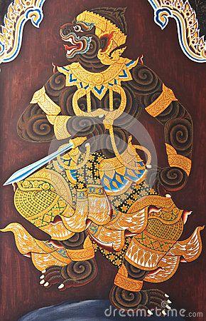Hanuman Painting ศ ลปะไทย หน มาน ภาพวาด