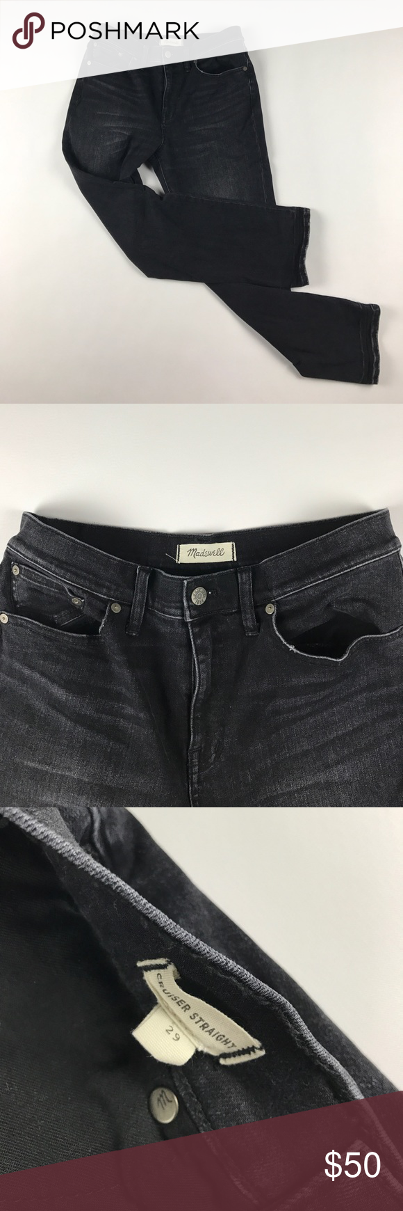 Size 29 Madewell Super Cruiser Denim Jeans Black 27 inch inseam Madewell Jeans Straight Leg