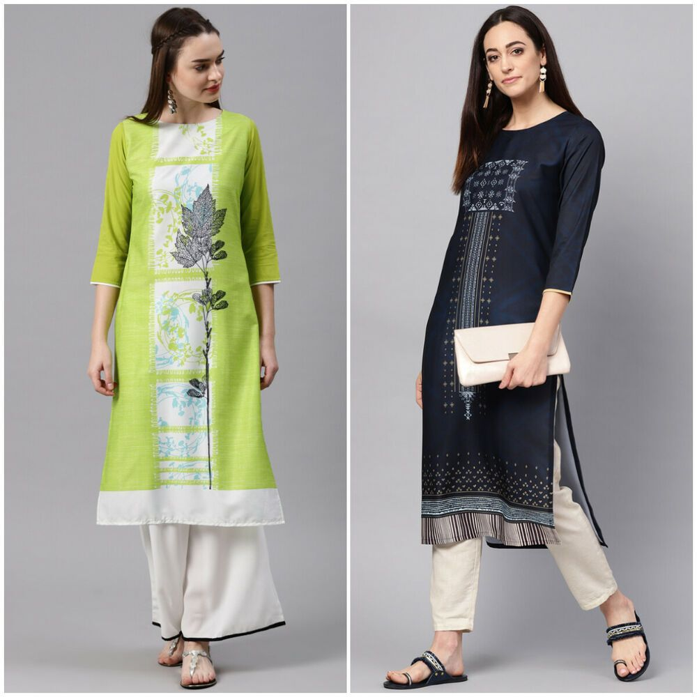 Set of 2 Indian Women Kurta Kurti Ethnic Designer Top Tunic Long Dress S to 4XL