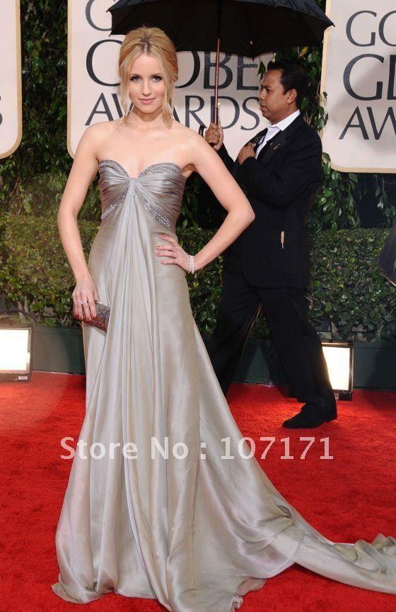 5b48eb1c338 Dianna Agron Sweetheart Beaded Silver Chiffon Red Carpet Dress Celebrity  Dress