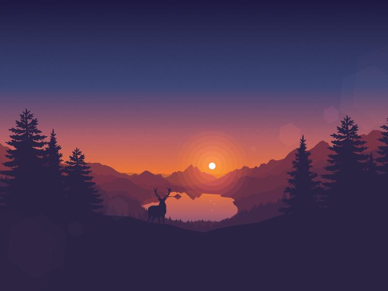 Lakeside Sunset Landscape Wallpaper Sunset Wallpaper Minimalist Wallpaper