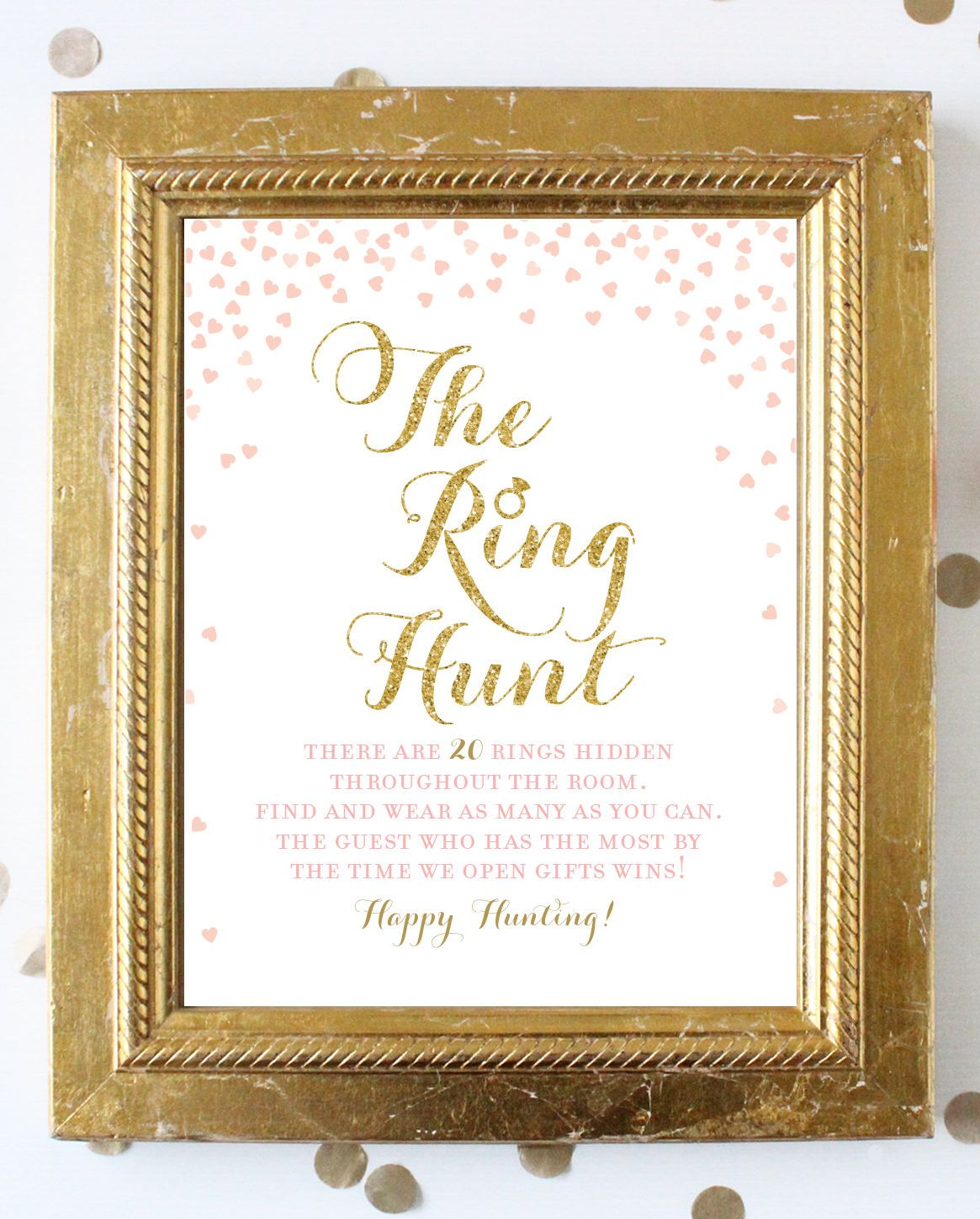 Ring Hunt Game Sign Look For The Rings Bridal Shower Game