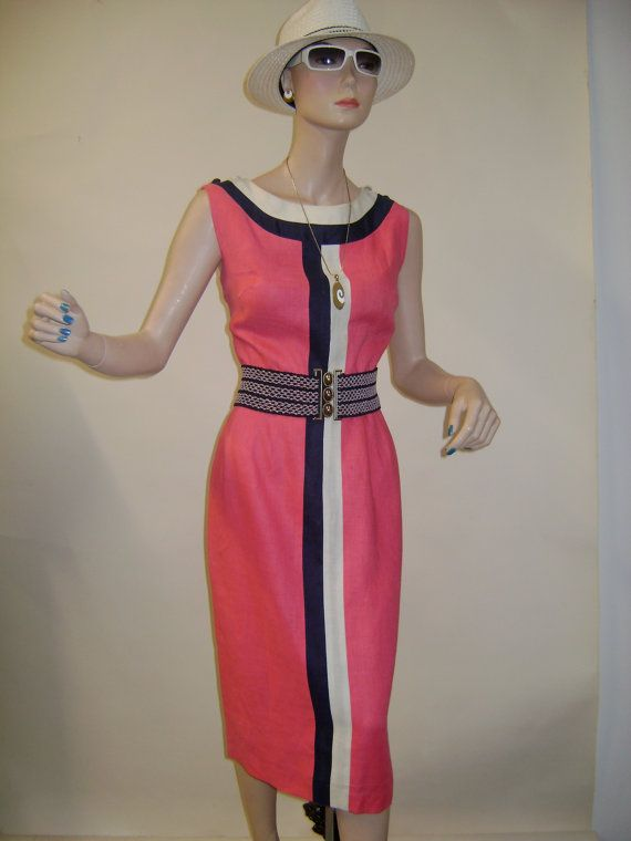 1960s Joseph Magnin Hot Pink Dress with Navy and White Stripe
