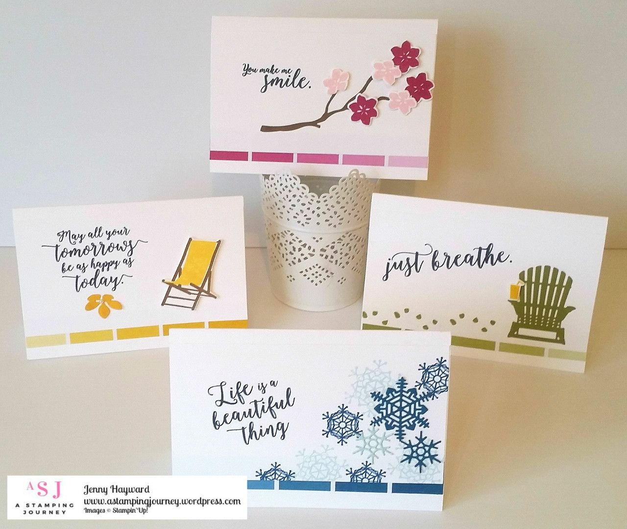 Colorful Seasons card set using the Color Theory Paper stack. These would be encouraging cards to send out to others. #colorfulseasons