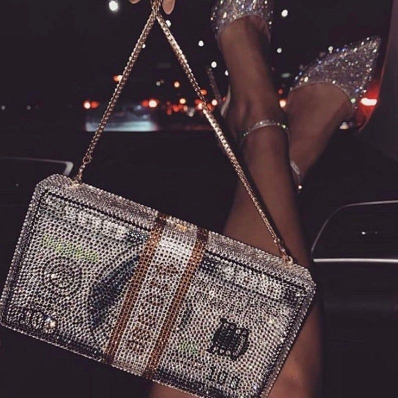 Crystal Wallet Dollar Design Luxury Diamond Evenin