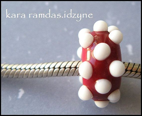 Deep Red with White Bumpy Dots  Bracelet Bead Big Hole by idzyne