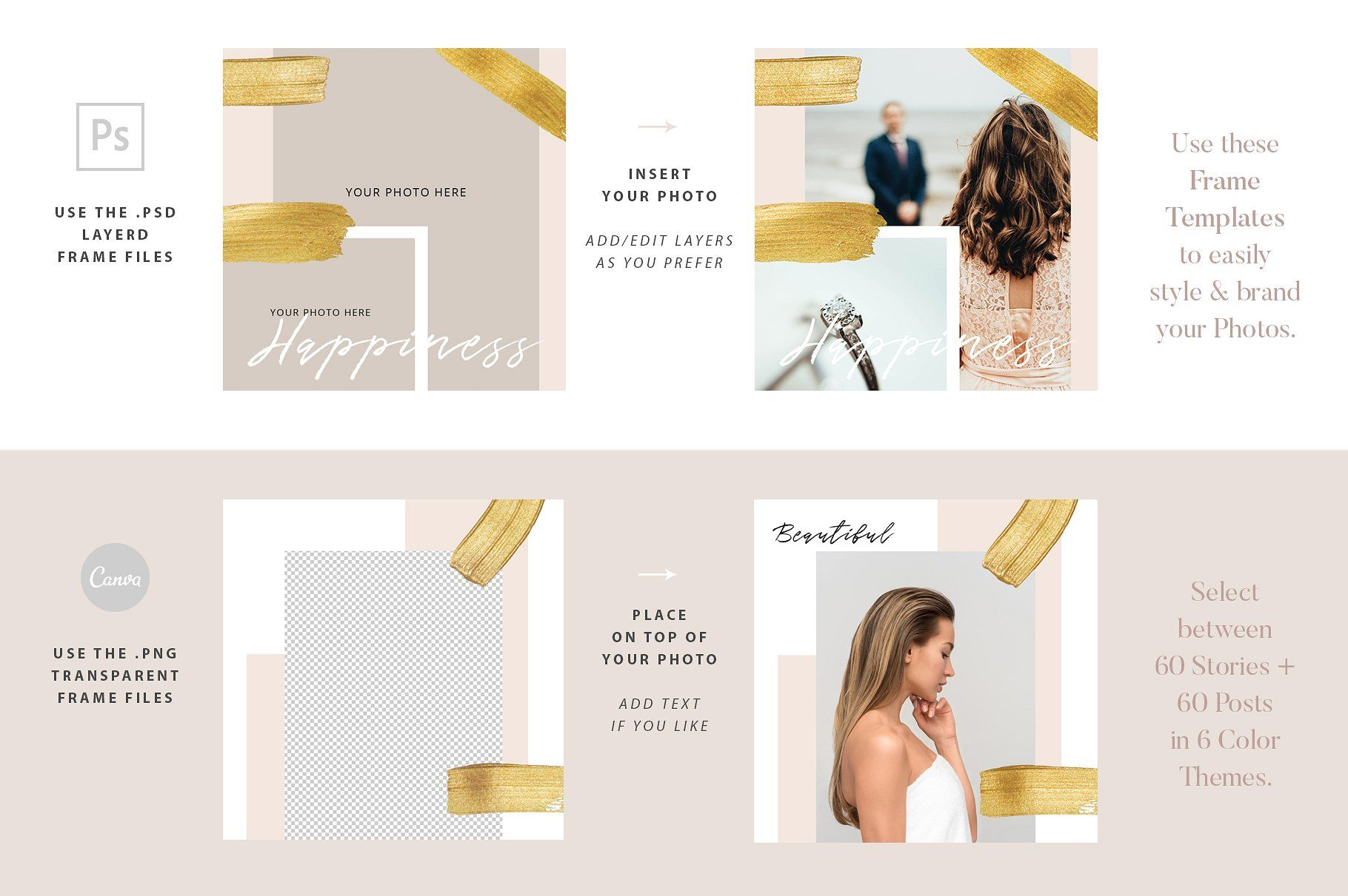 Instagram Photo Frames Templates Color Divided Themes Fits