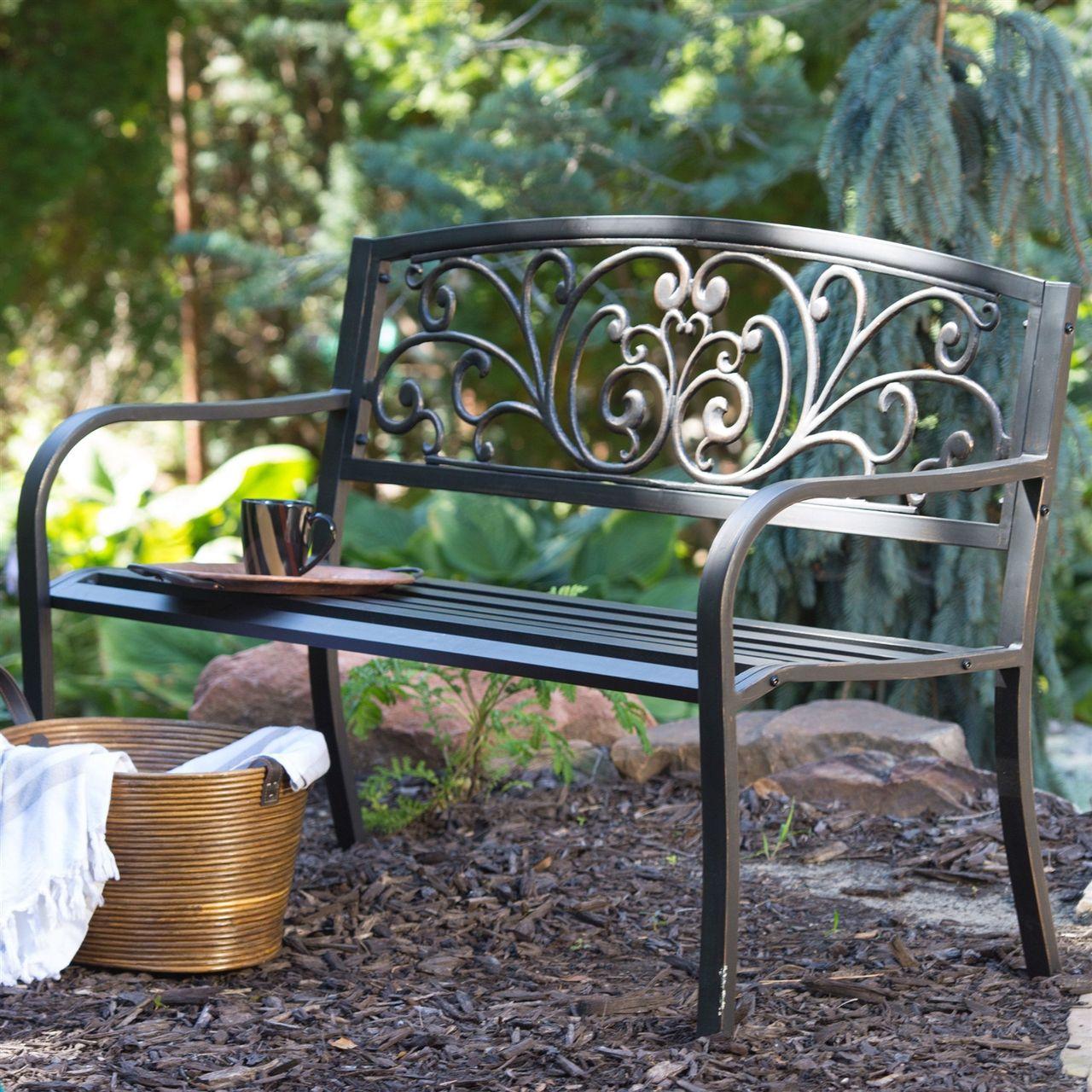 Curved Metal Garden Bench Heart Pattern Black Antique Bronze