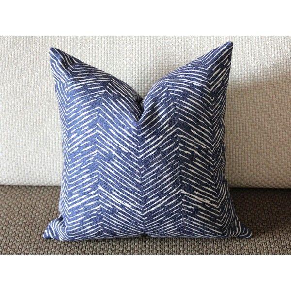 waves modern navy blue pillow cover