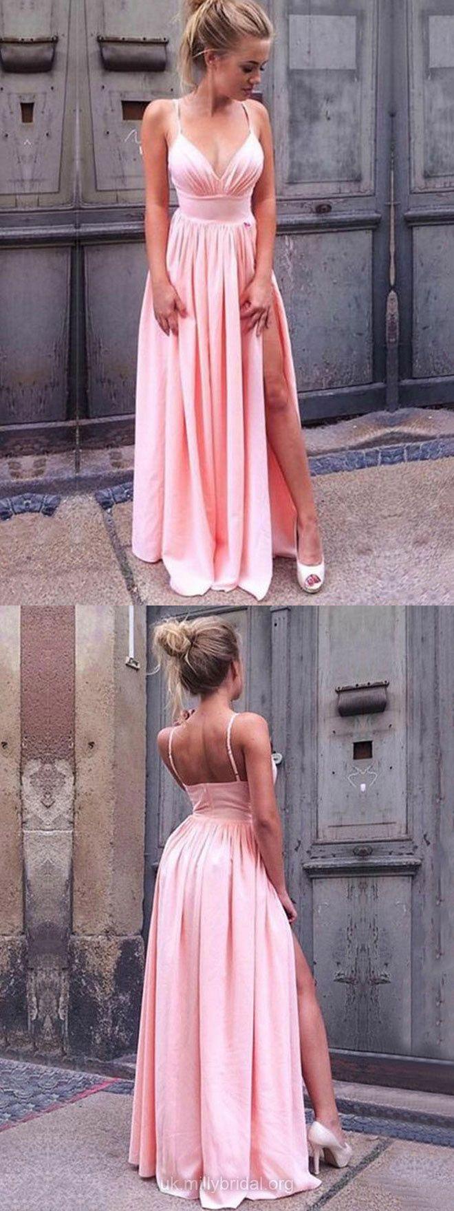 Pink Prom Dresses, Long Prom Dresses With Slit, Formal Prom Dresses ...