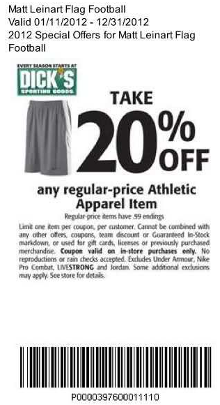 Dick's Sporting Goods 20 off Printable Coupon