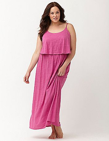 Slub cotton maxi lounger works style into your bedtime routine with a layered-look bodice, flattering scoop neck and adjustable straps. Soft, breathable and perfect for year-round wear! lanebryant.com