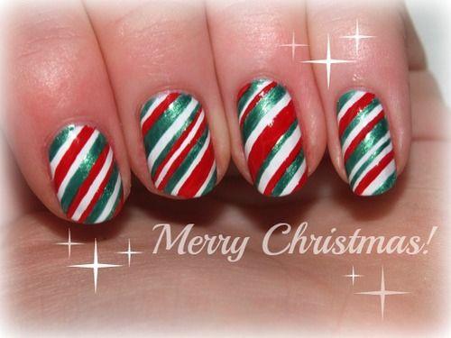 Candy cane Christmas nail art