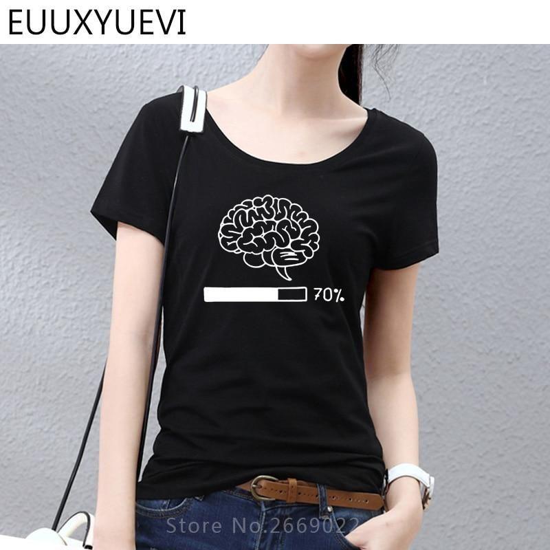 Women Summer Brain Loading Funny Printed T Shirt Woman Gamer