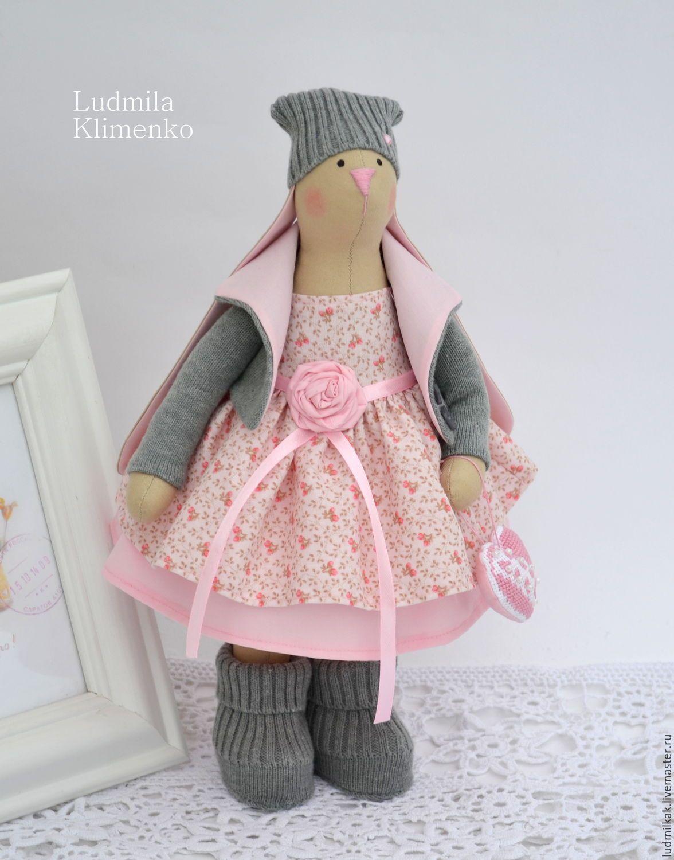 Купить Зайка Валентинка - розовый, заяц, заяц игрушка, заяц тильда ...