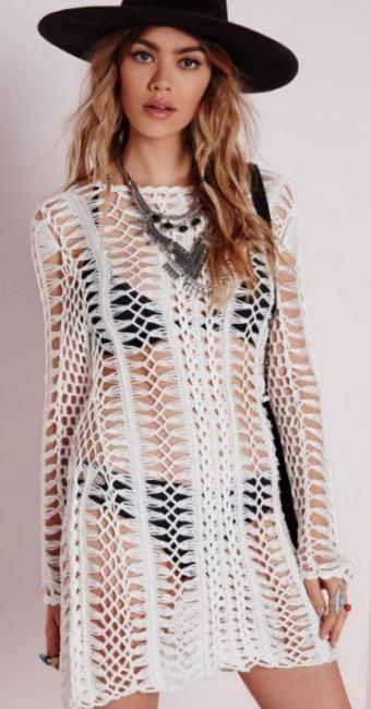 Missguided - Cream Long Sleeve Crochet Dress